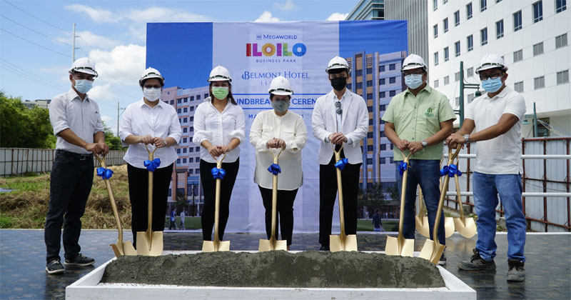 Property giant Megaworld breaks ground for Belmont Hotel Iloilo inside the 72-hectare Iloilo Business Park in Mandurriao, Iloilo City. The fourth hotel under the company's homegrown Belmont brand will add 405 hotel rooms to Iloilo City and will be located near Festive Walk Parade, just a walking distance from the Iloilo Convention Center. It is also the third hotel property inside Iloilo Business Park. Leading the groundbreaking ceremony were: Rey Orio, estate manager, Iloilo Business Park (extreme left); Engr. Daisy Villanueva, head of operations, Iloilo Business Park (2nd from left); Jennifer Palmares-Fong, vice president for sales and marketing, Megaworld Iloilo (center); and Engr. Rufino Pamaran, Jr., project manager, Belmont Hotel Iloilo (2nd from right).