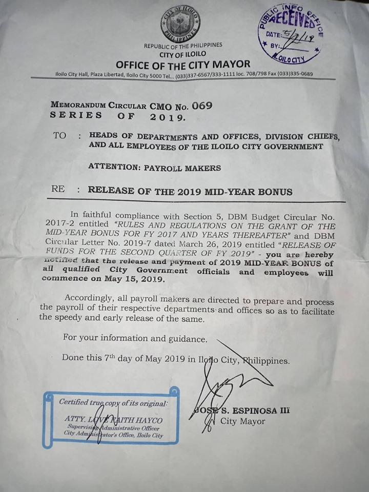 Iloilo City releases memo on midyear bonus.