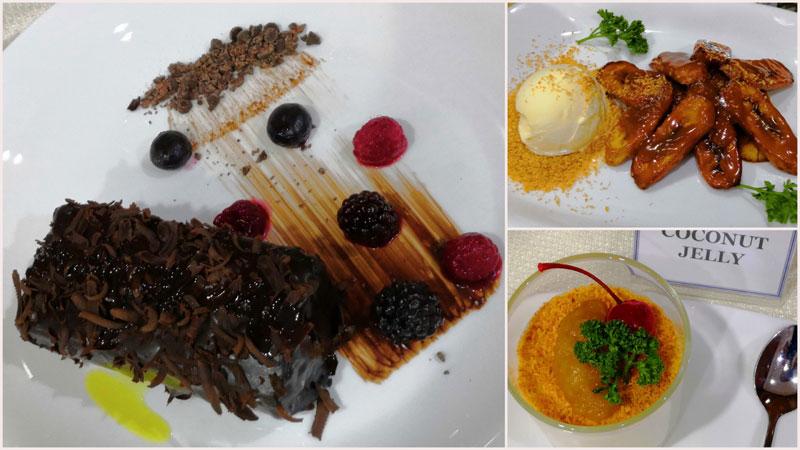 Desserts: Truffle Chocolate Cake, Crispy Fried Banana and Coconut Jelly