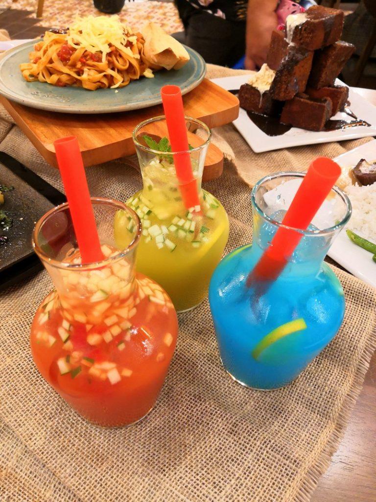 Thirst-quenching drinks: Cooling Cucumber, Sunset Splash, Blu Lemonade.
