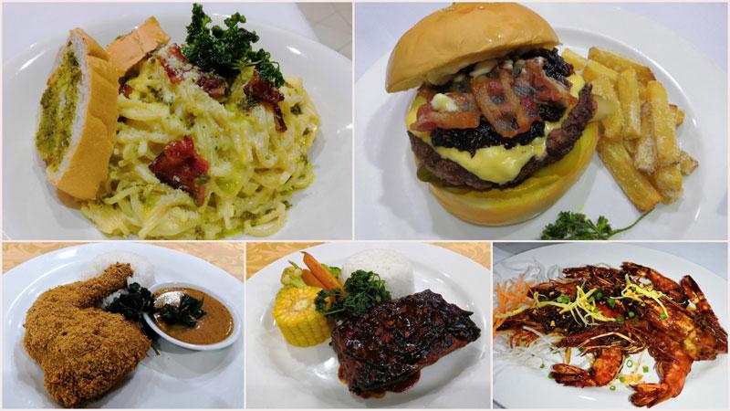Spaghetti Carbonara, Signature Burger, Signature Fried Chicken, BBQ Baby Back Ribs, Wok Fry Prawns