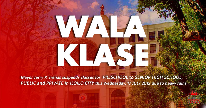 Treñas cancels classes Wednesday, July 17 2019.