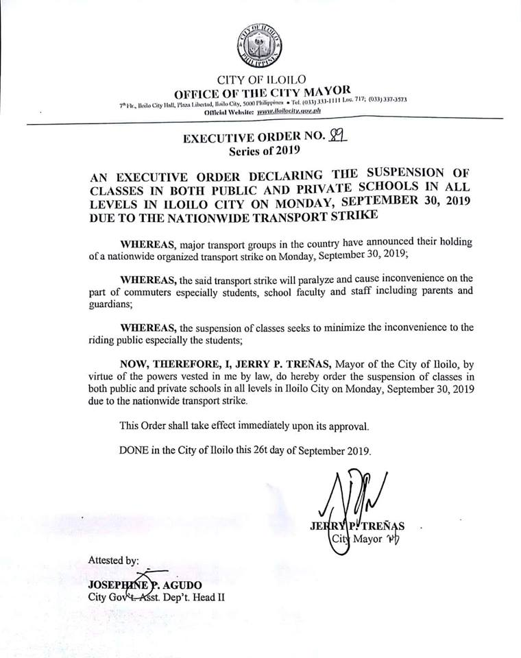 Mayor Trenas executive order on suspension of classes due to transport strike.