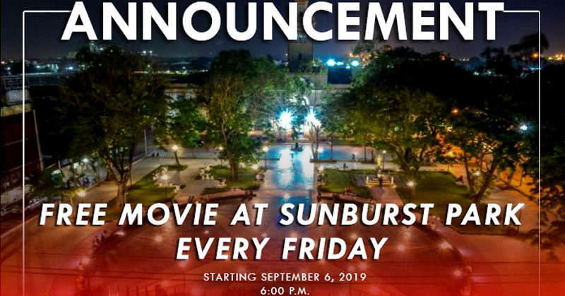Free movies every Friday night at Sunburst Park