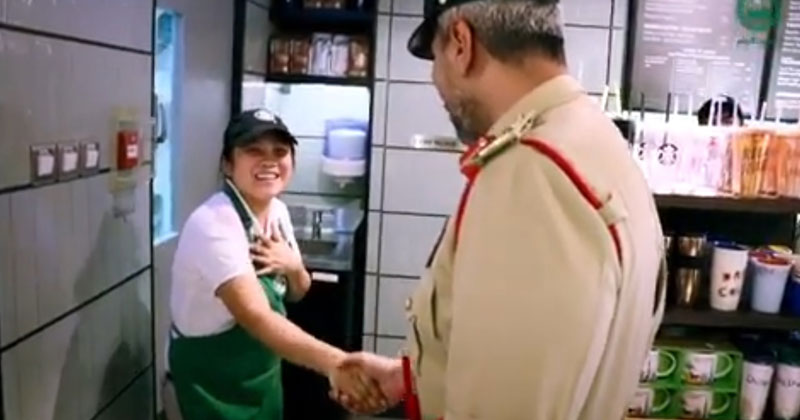 Dubai Police honors Filipina Starbucks worker Mae Anne Olmidillo.