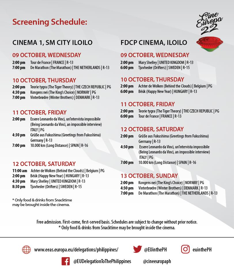 Schedule of Cine Europa 2019 free movies in Iloilo City.