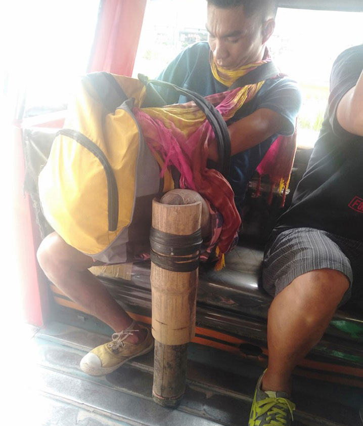 Darius Senillo of Lambunao, Iloilo uses bamboo tube as improvised prosthetic leg. Photo by Sheena Ituriaga Gallego.