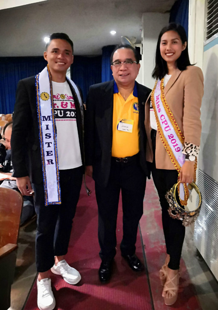 CPUAAI Vice President Atty. Joshua Alim with Mr. CPU Marlon Balberona and Ms. CPU Salve Lia Santocildes, both from College of Law.