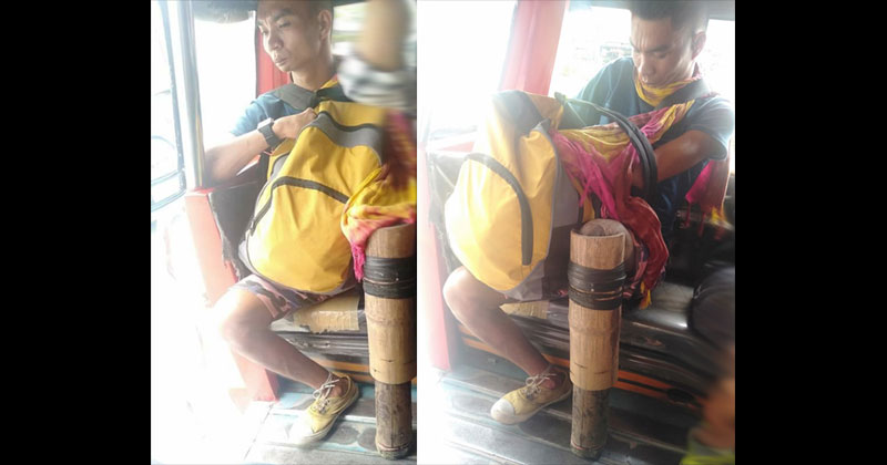 Man with bamboo leg is viral online.