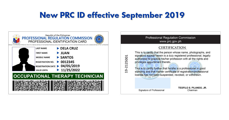 New PRC ID for professionals effective September 2019.
