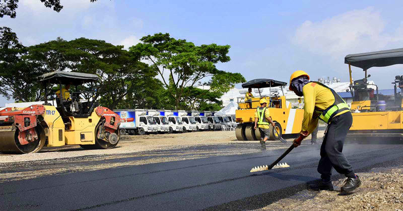 San Miguel Corporation recycled plastics road in Cavite.