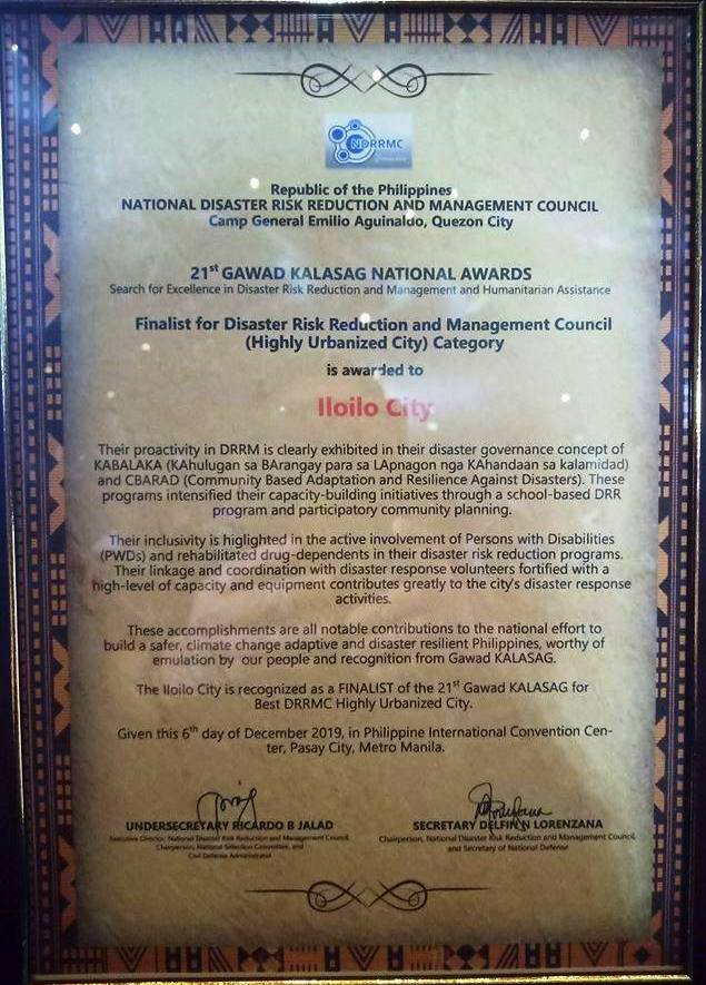 Iloilo City Top 3 in Gawad Kalasag National Awards 2019.