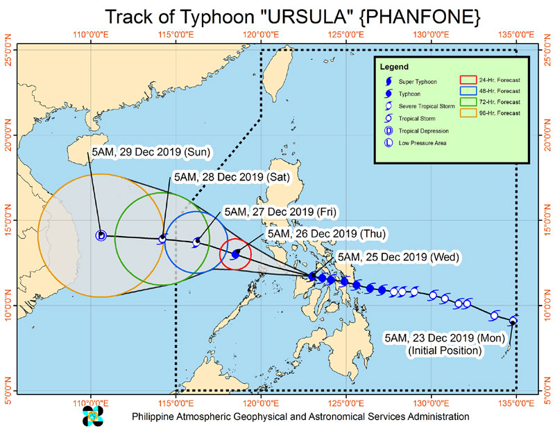 Typhoon Ursula update from DOST Pagasa.