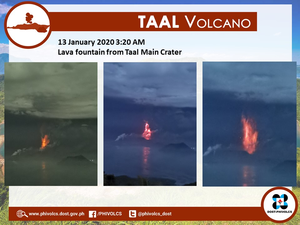Taal Volcano lava fountain as of January 13.