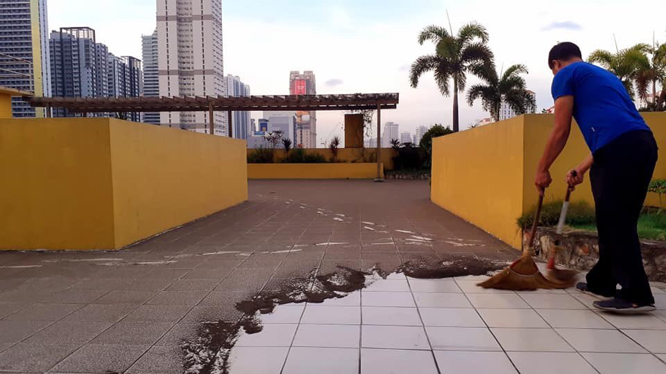 Ashfall reaches Metro Manila as seen in this photo taken from a condominium in Mandaluyong.