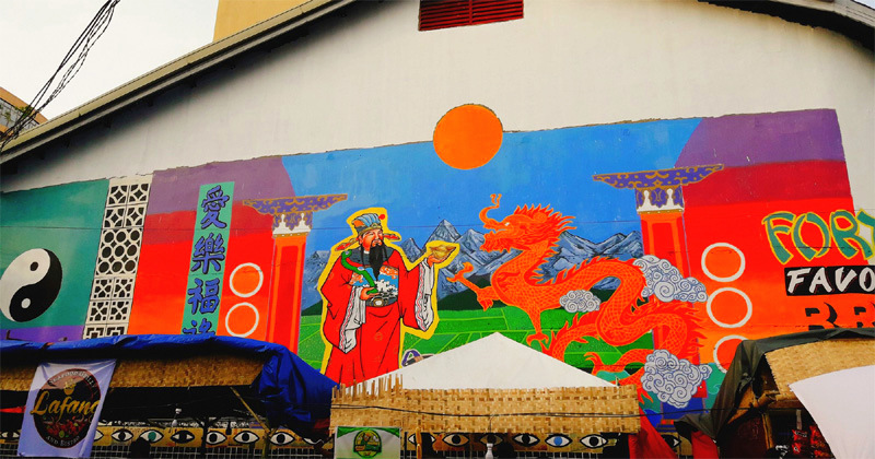 Chinese themed mural
