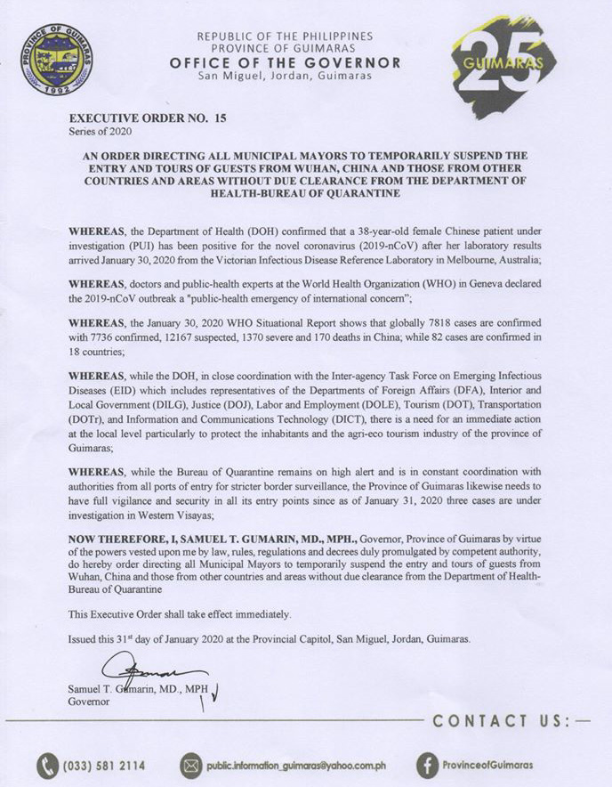 Guimaras bans Chineses without health clearance