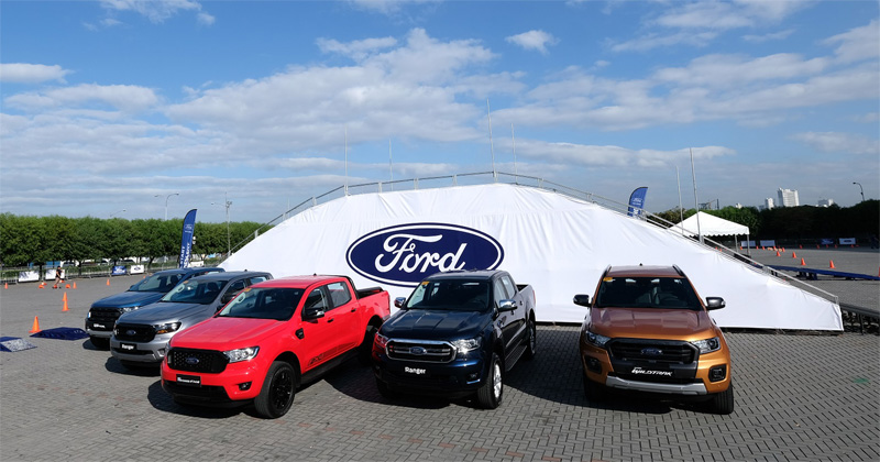 (From left to right) Ford Ranger Raptor, Ford Ranger XLS, Ford Ranger FX4, Ford Ranger XLT, and Ford Ranger Wildtrak.