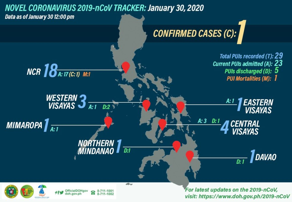 DOH nCov tracker as of January 30, 2020.