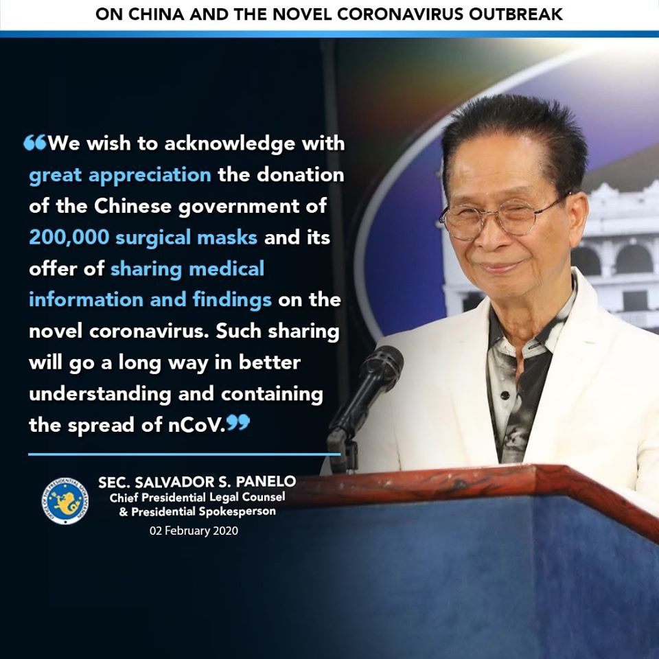Statement of Salvador Panelo on China and novel coronavirus.
