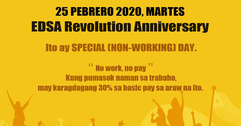 DOLE: 'No work, no pay' on EDSA Day