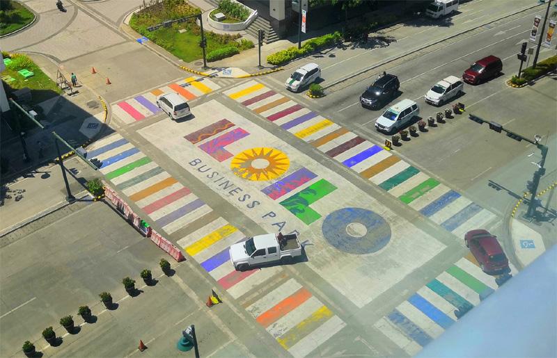 Pedestrian crossing at Megaworld Iloilo Business Park.