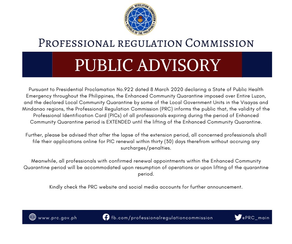 prc renewal advisory