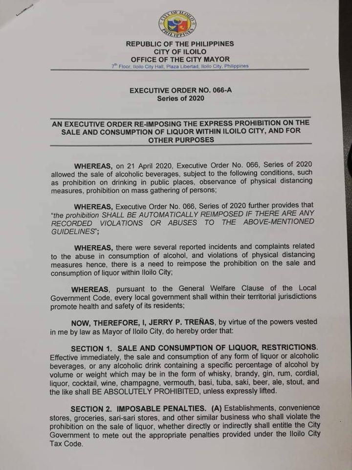 Executive Order No. 066-A reimposing liquor ban.