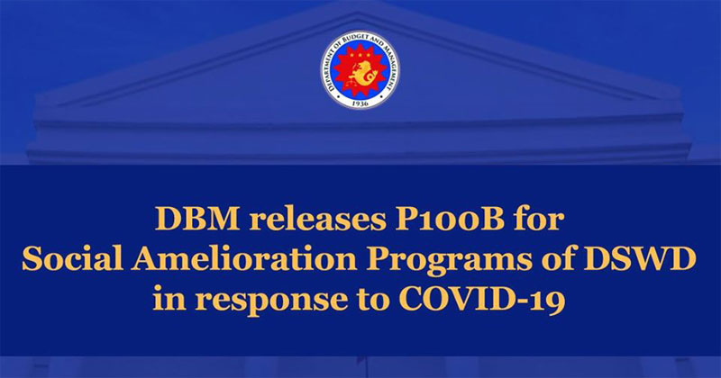 DBM releases P100B for Social Amelioration Programs of DSWD in response to COVID-19
