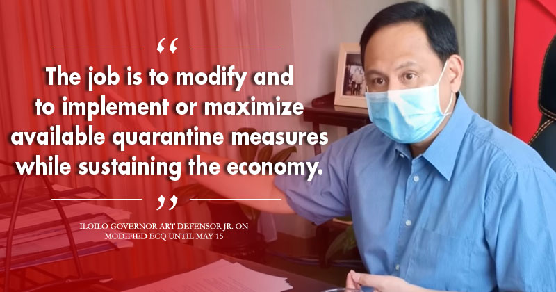 Governor Art Defensor Jr on modified enhanced community quarantine in Iloilo.