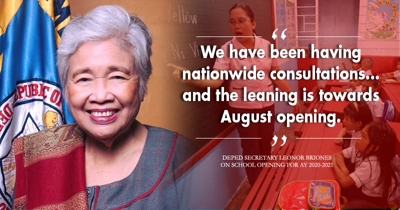 Deped Secretary Leonor Briones on school opening next school year.
