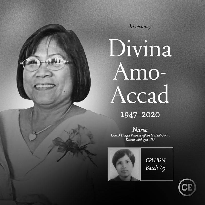 Nurse Divina Amo Accad of Alimodian, Iloilo died of COVID-19 in Michigan, USA.