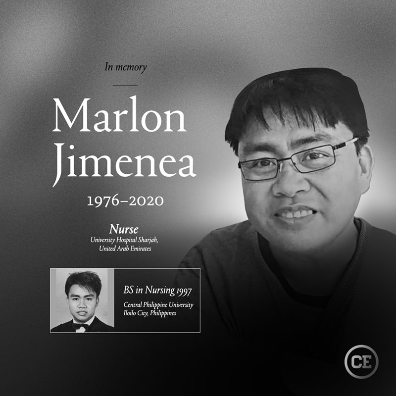 Nurse Marlon Jimenea died in Dubai, UAE.