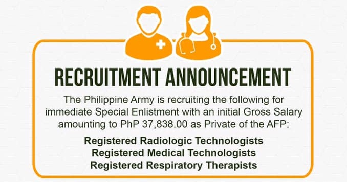 Philippine Army hiring medtechs, radtechs, respiratory therapists; salary at P37,838