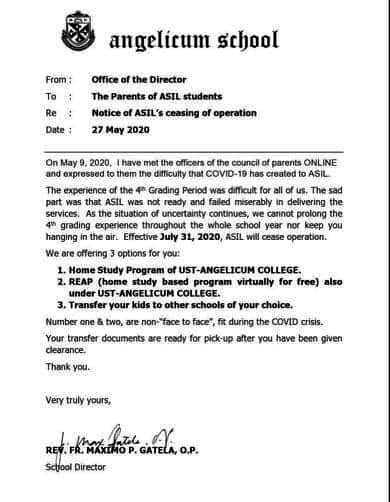Angelicum School notice of closure to parents.