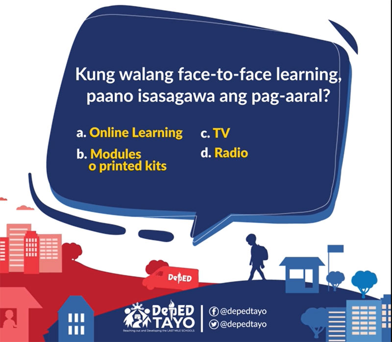 Deped blended learning modalities in lieu of face-to-face classes.