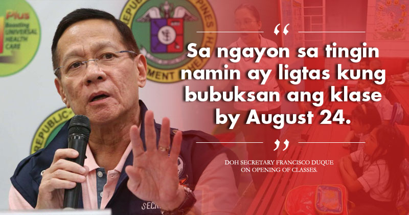 Duque: Safe to open classes in August