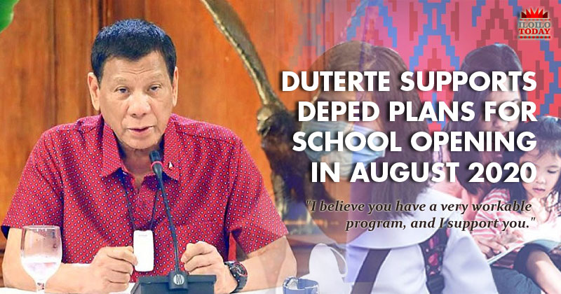 Duterte supports Deped programs for class opening in August.