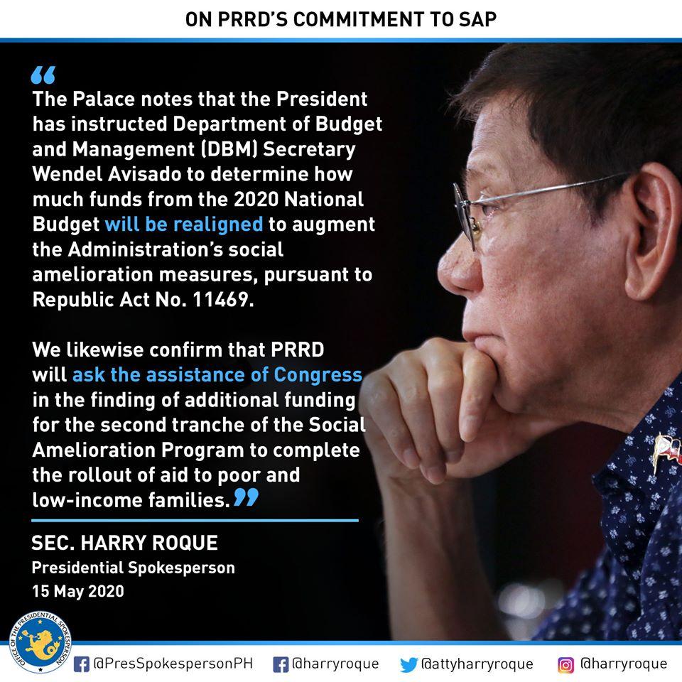 Duterte commitment on Social Amelioration Program.