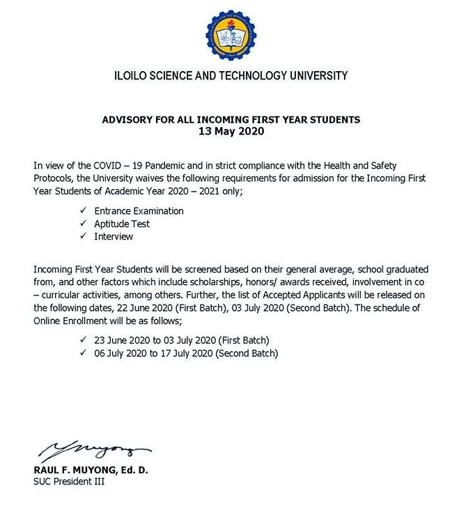 ISAT-U advisory on Enrollment for incoming Freshmen this SY 2020-2021.