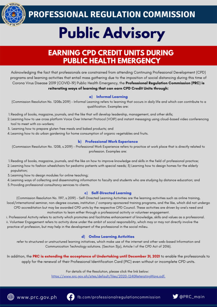 PRC Advisory on earning CPD units during COVID-19 crisis.