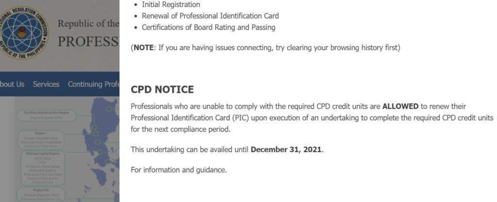 PRC CPD Notice on their website.