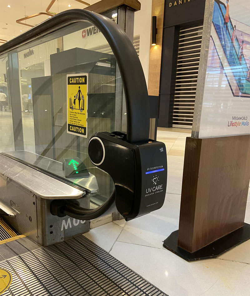 UV Disinfection Light for escalators have also been installed to sanitize escalator rail handles.