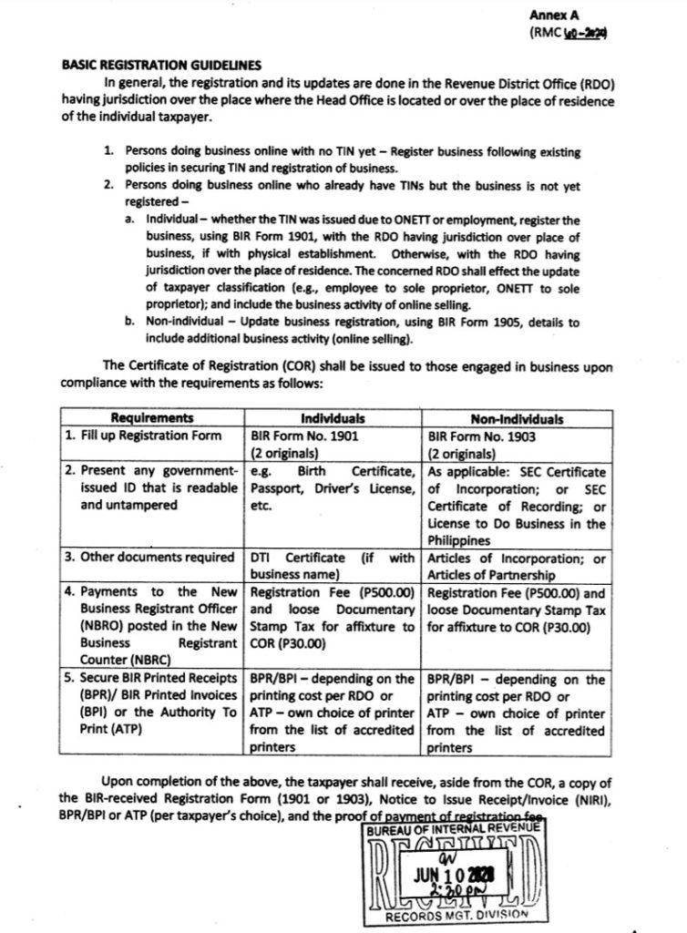 BIR Basic Registration Guidelines