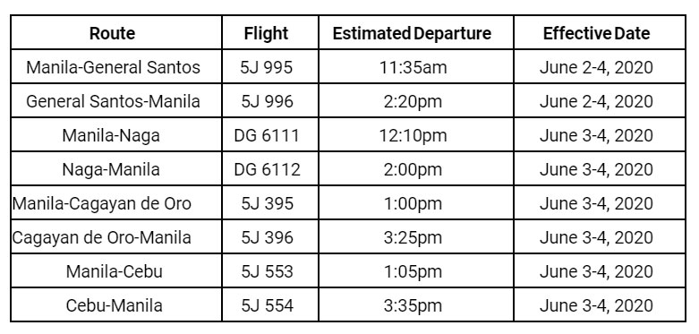 Cebu Pacific flights June 2