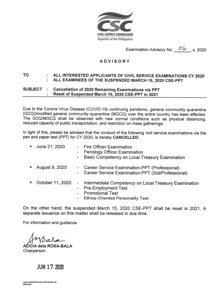 CSC Advisory on the cancellation of civil service exams.
