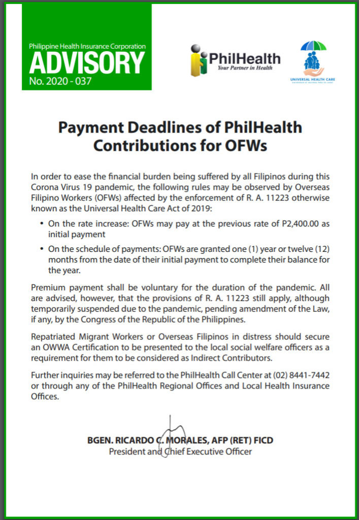 Philhealth Advisory 2020-037 on Payment Deadlines for OFWs.