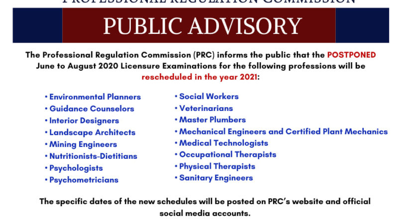 PRC postpones June – August 2020 Board Exams to 2021