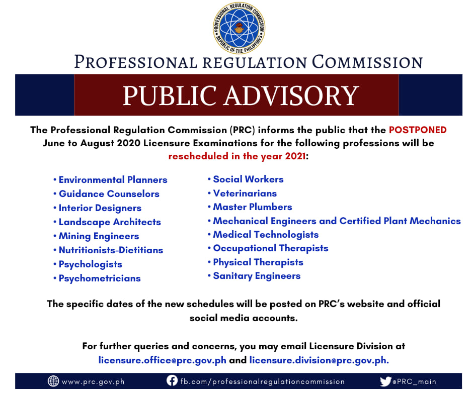 PRC postpones June to August 2020 Board Exams