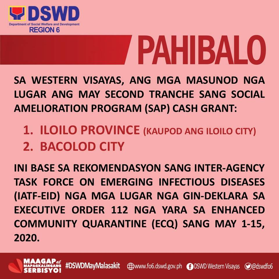 DSWD-6 Announcement on SAP 2nd Tranche